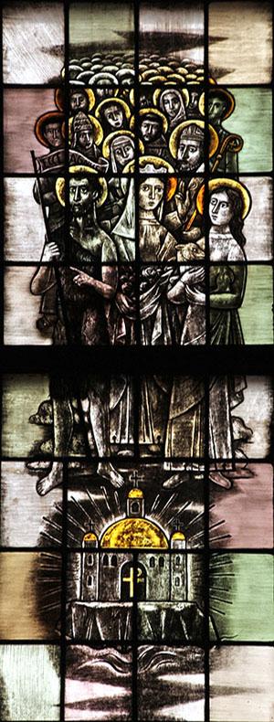 9. de heilige katholieke Kerk, de gemeenschap van de heiligen (links)