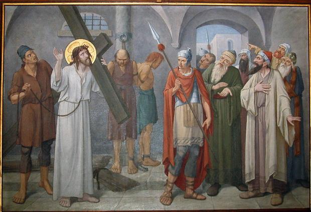 Statie 2: Jezus neemt het kruis op Zijne schouders