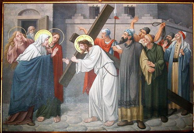 Statie 4: Jezus ontmoet Zijne bedroefde moeder
