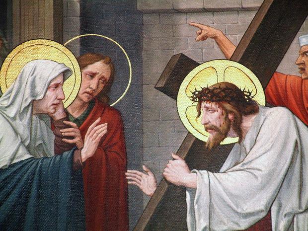 Statie 4 (detail): Jezus ontmoet Zijne bedroefde moeder