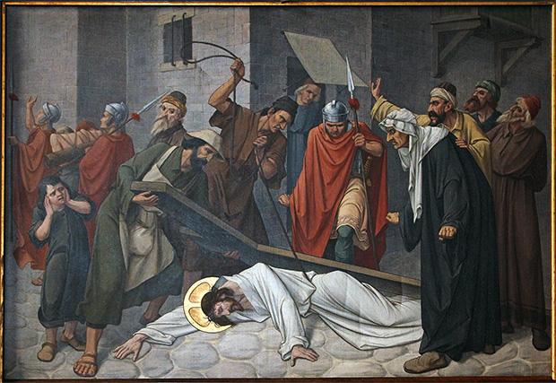 Statie 7: Jezus valt de tweede maal onder het kruis.