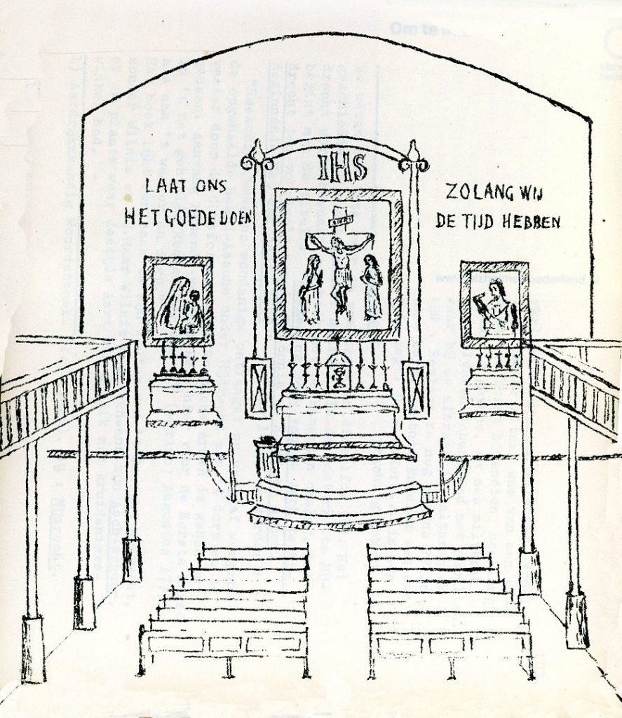 Tekening van pater C. Verwoerd uit zijn boekje met de kerkgeschedenis Mijdrecht-Wilnis (1976).