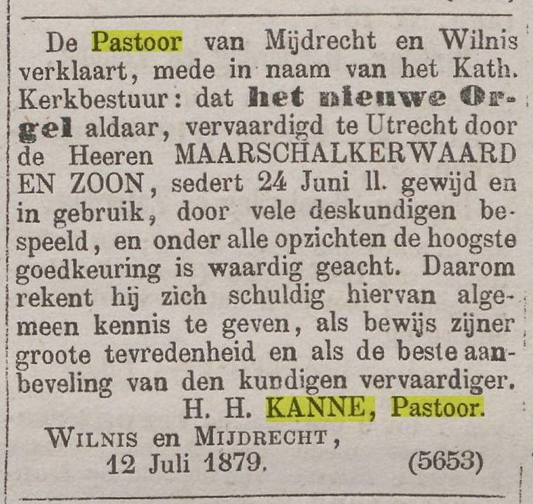 1879-07-15 Advert orgel hh kanne De Tijd