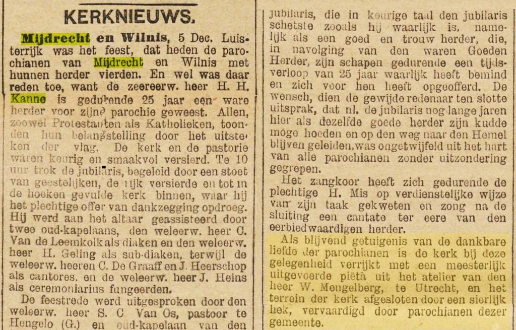 1894-12-07 HH Kanne 25jaar in M-W - De Tijd