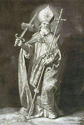 Bonifatius op een gravure van Cornelis Bloemaert (1603-1692) inspireerde Peter van Millingen voor het beeldje.