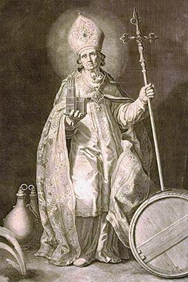 Willibrordus op een gravure van Cornelis Bloemaert (1603-1692) inspireerde Peter van Millingen voor het beeldje. Mogelijk heeft de zilversmid met een bedoeling dit beeldje in spiegelbeeld gemaakt. Nu is een opstelling mogelijk waarbij de kruisjes van beide beeldjes aan de buitenzijde van de groep komen: symmetrie! Zie groepsfoto boven. Opm. Maria en Johannes staan altijd direct naast het kruis.