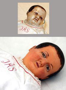 Kerstgroep 3455 het kind - voor en na restauratie_1700pix